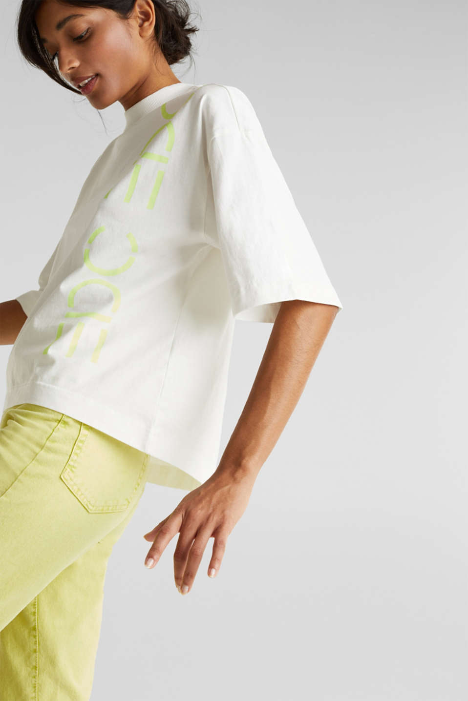 Slub top with a graphic print, 100% cotton, OFF WHITE, detail image number 2