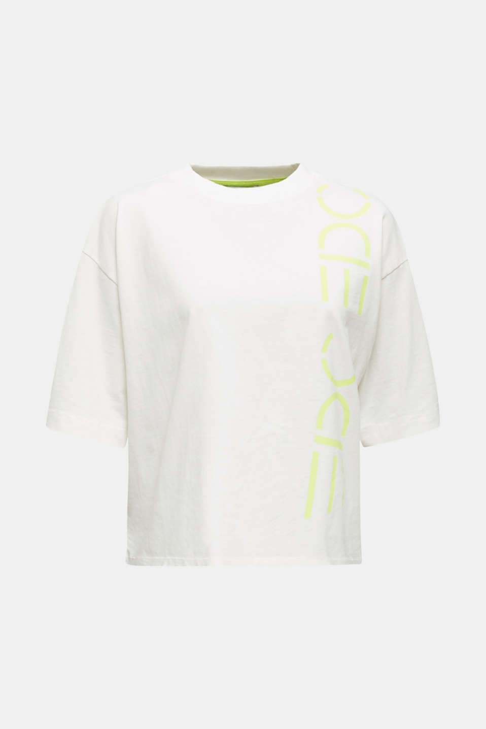 Slub top with a graphic print, 100% cotton, OFF WHITE, detail image number 5