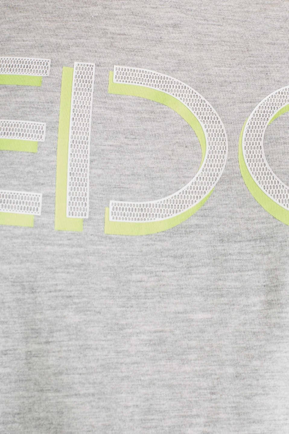 NEON melange logo print tee, LIGHT GREY 5, detail image number 4