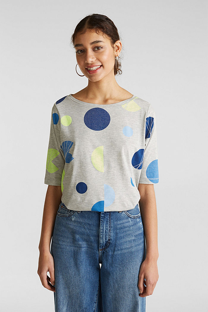 Melange top with a neon print, LIGHT GREY, detail image number 0