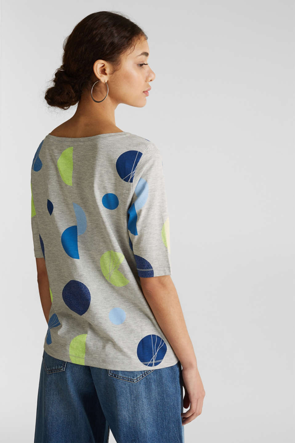 Melange top with a neon print, LIGHT GREY 5, detail image number 3