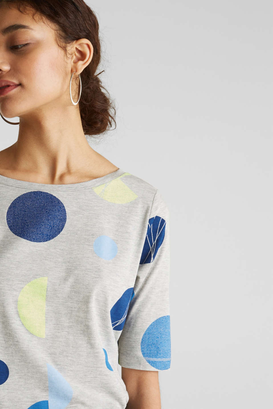 Melange top with a neon print, LIGHT GREY 5, detail image number 2