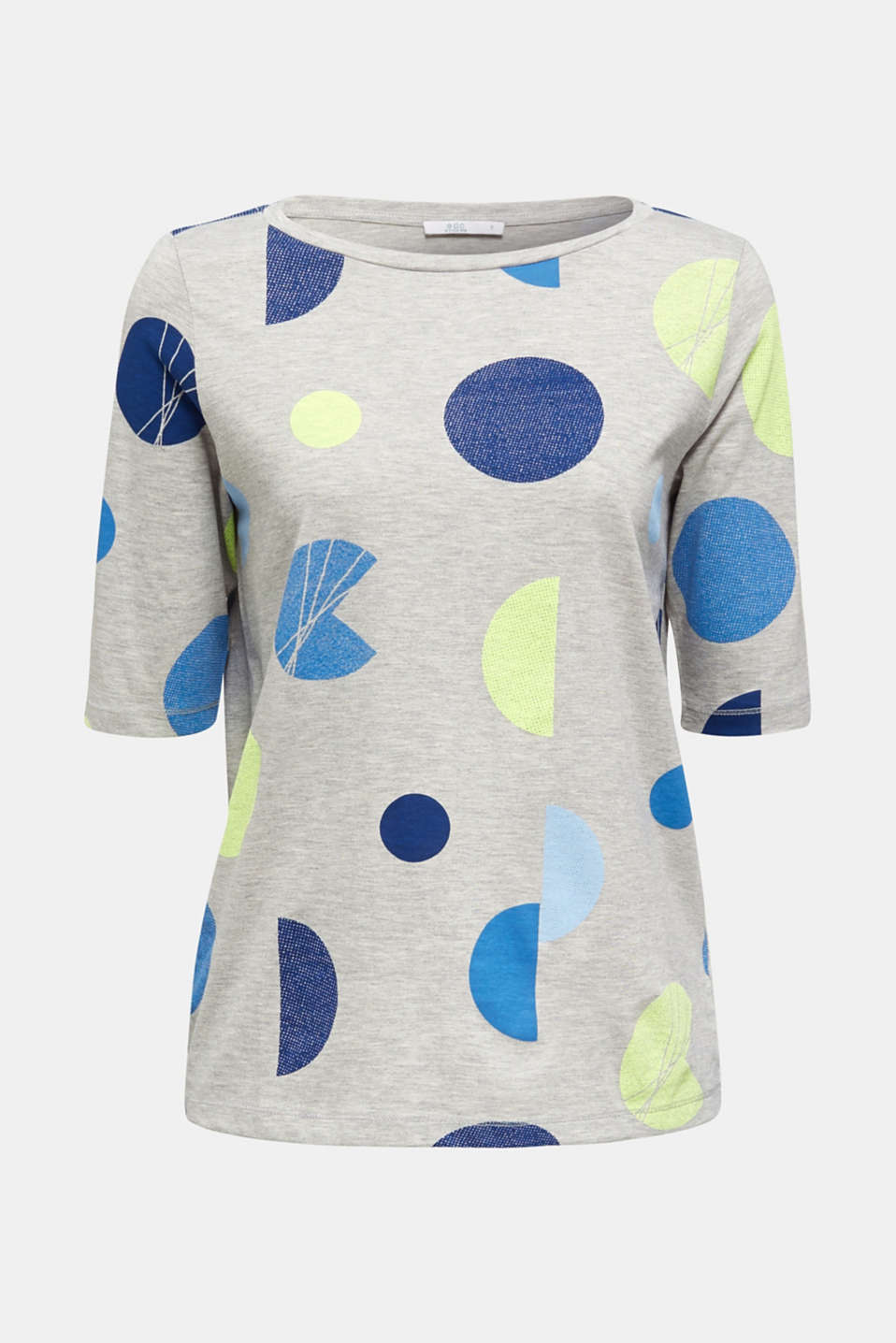 Melange top with a neon print, LIGHT GREY 5, detail image number 6