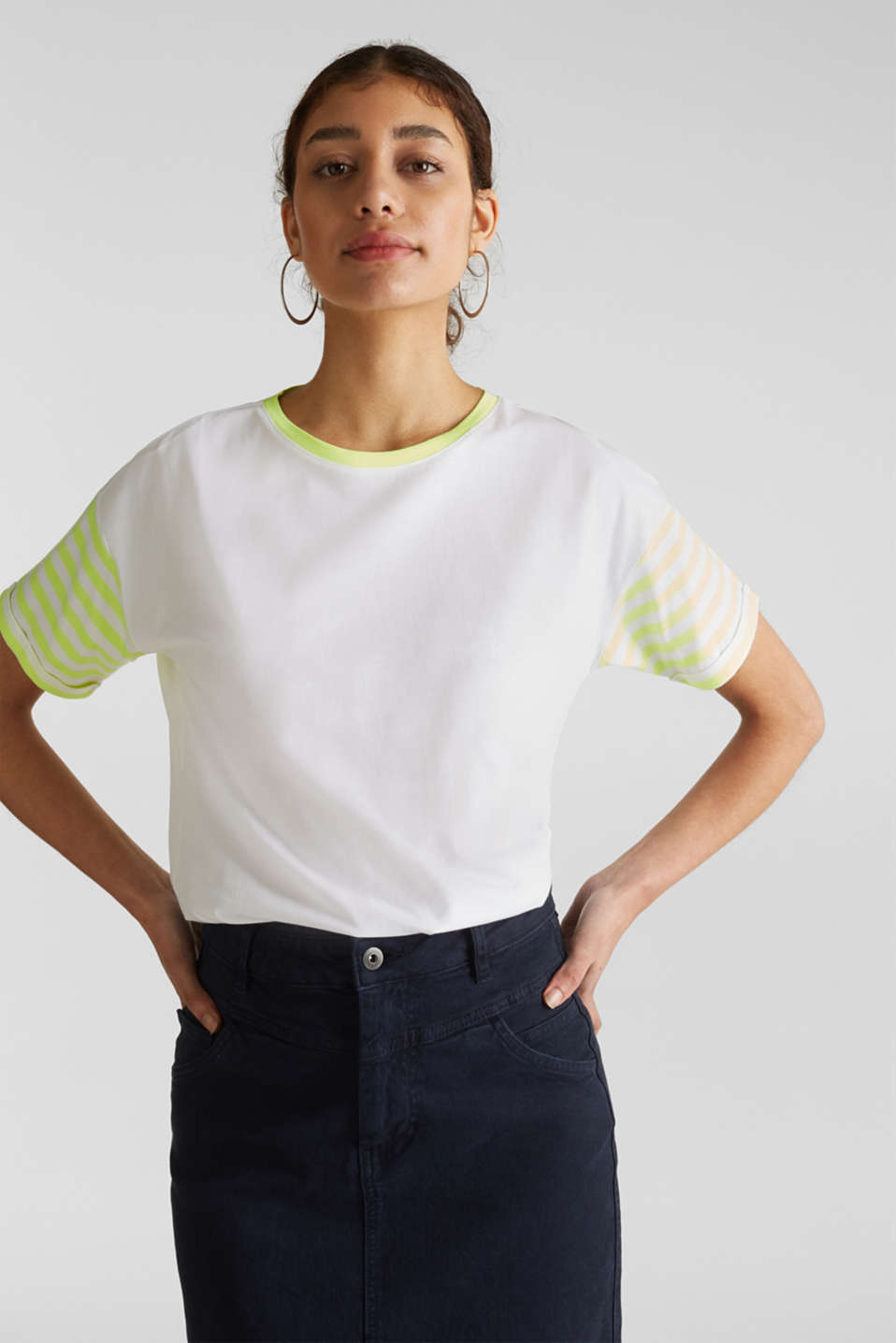Top with neon stripes, 100% cotton, WHITE, detail image number 0