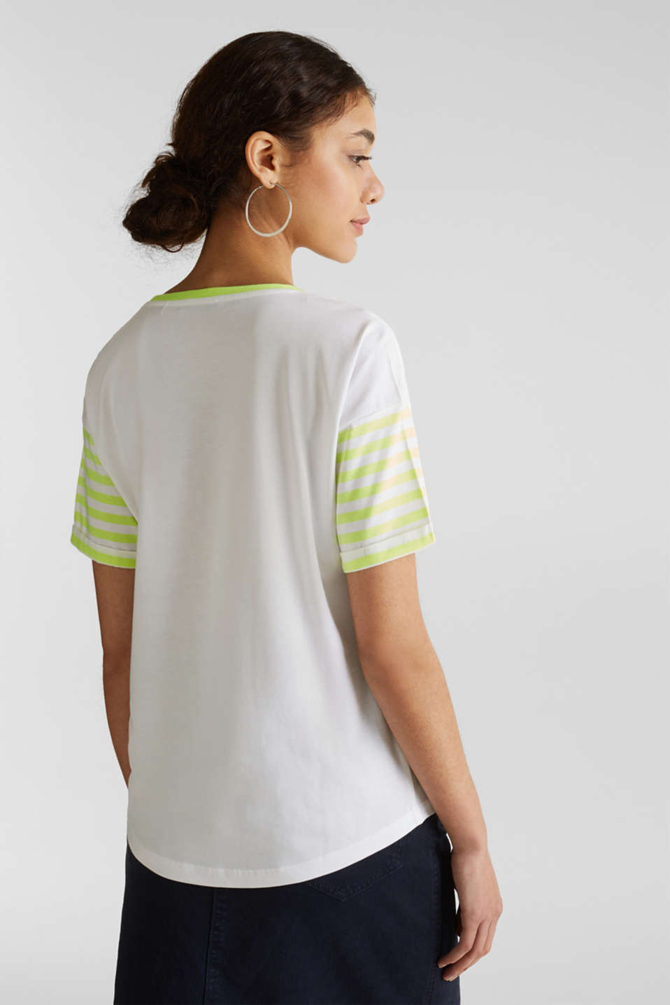 Top with neon stripes, 100% cotton, WHITE, detail image number 3