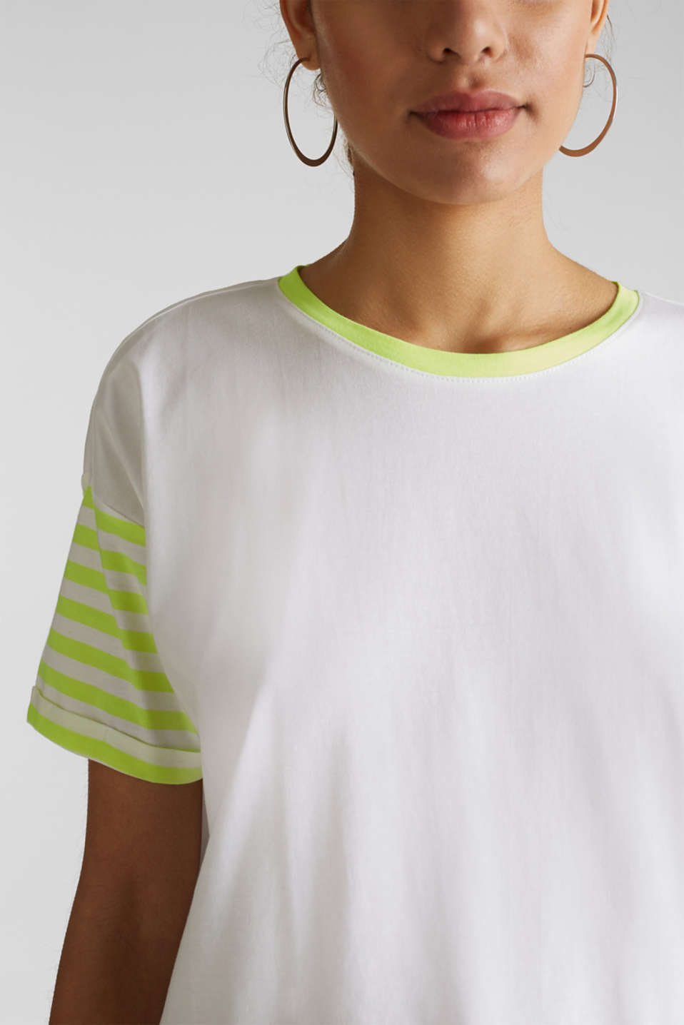 Top with neon stripes, 100% cotton, WHITE, detail image number 2