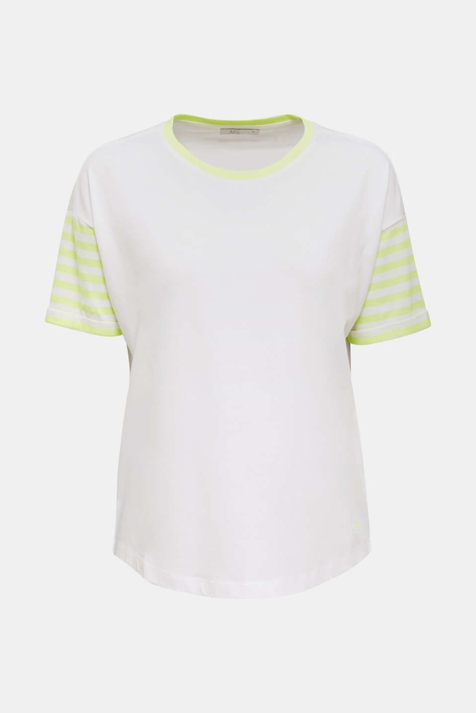 Top with neon stripes, 100% cotton, WHITE, detail image number 5