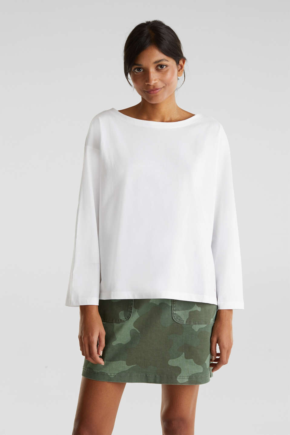 Long sleeve top with wide sleeves, 100% cotton, WHITE, detail image number 0