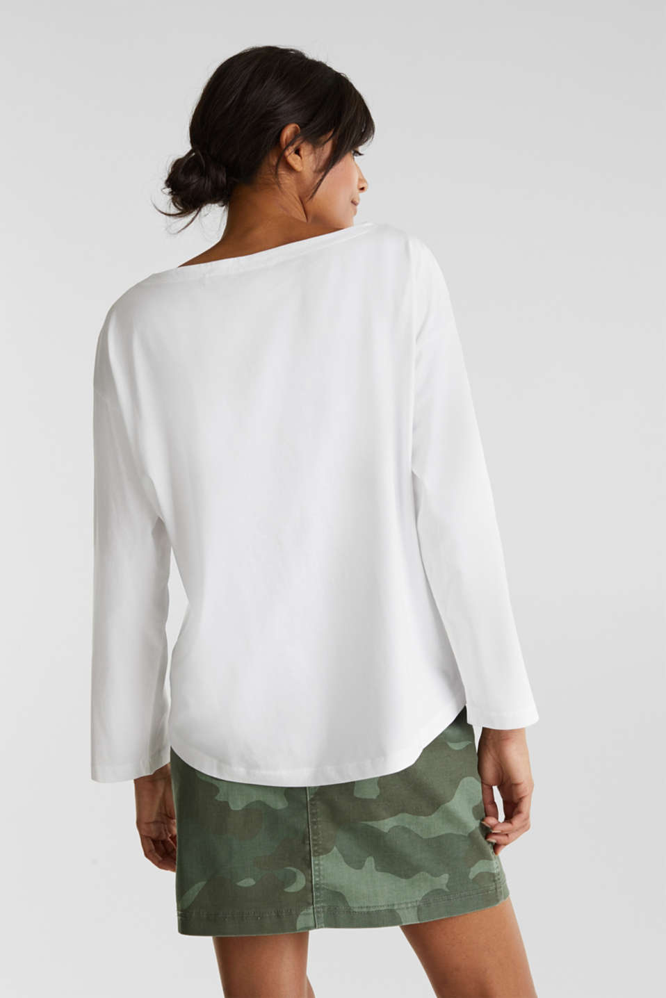 Long sleeve top with wide sleeves, 100% cotton, WHITE, detail image number 3