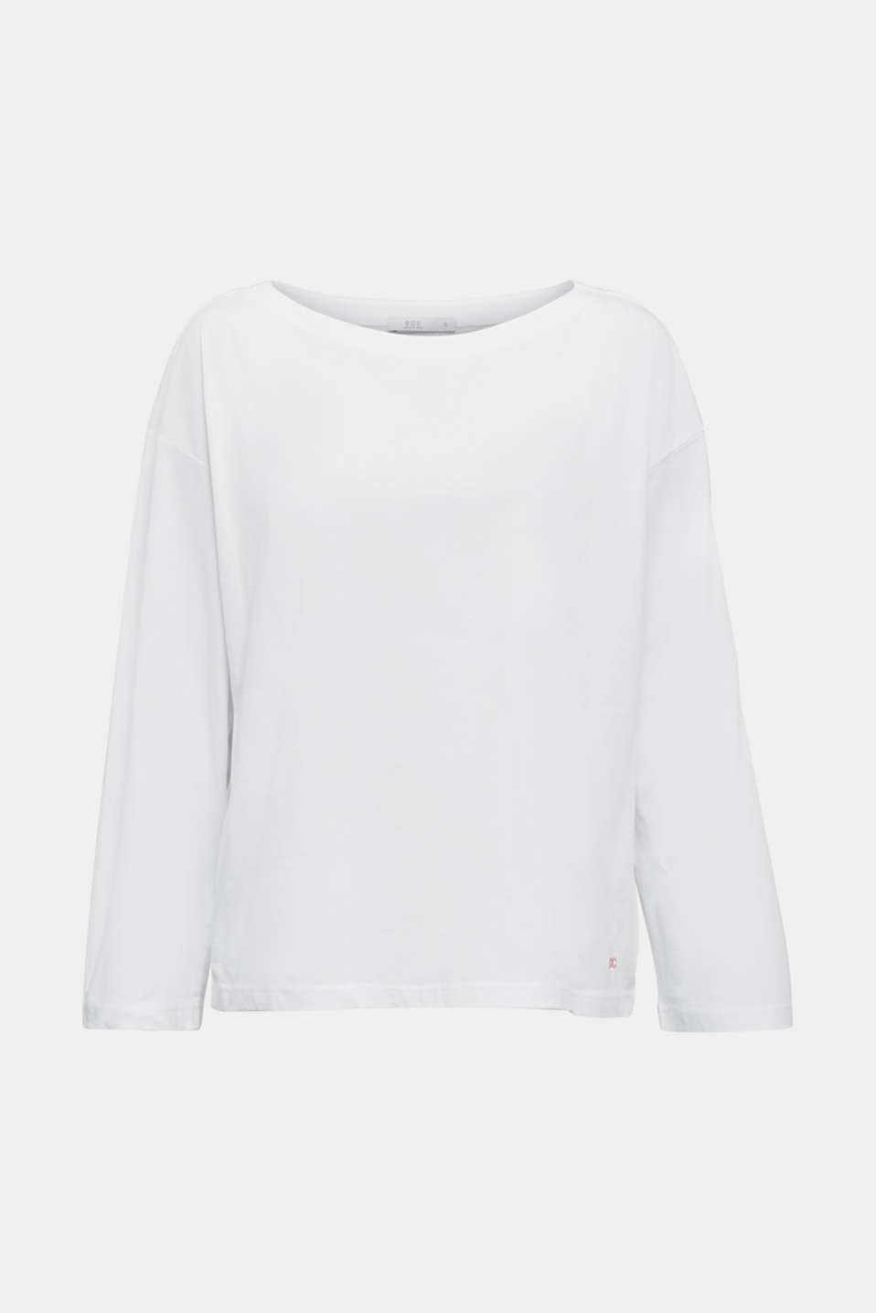 Long sleeve top with wide sleeves, 100% cotton, WHITE, detail image number 6