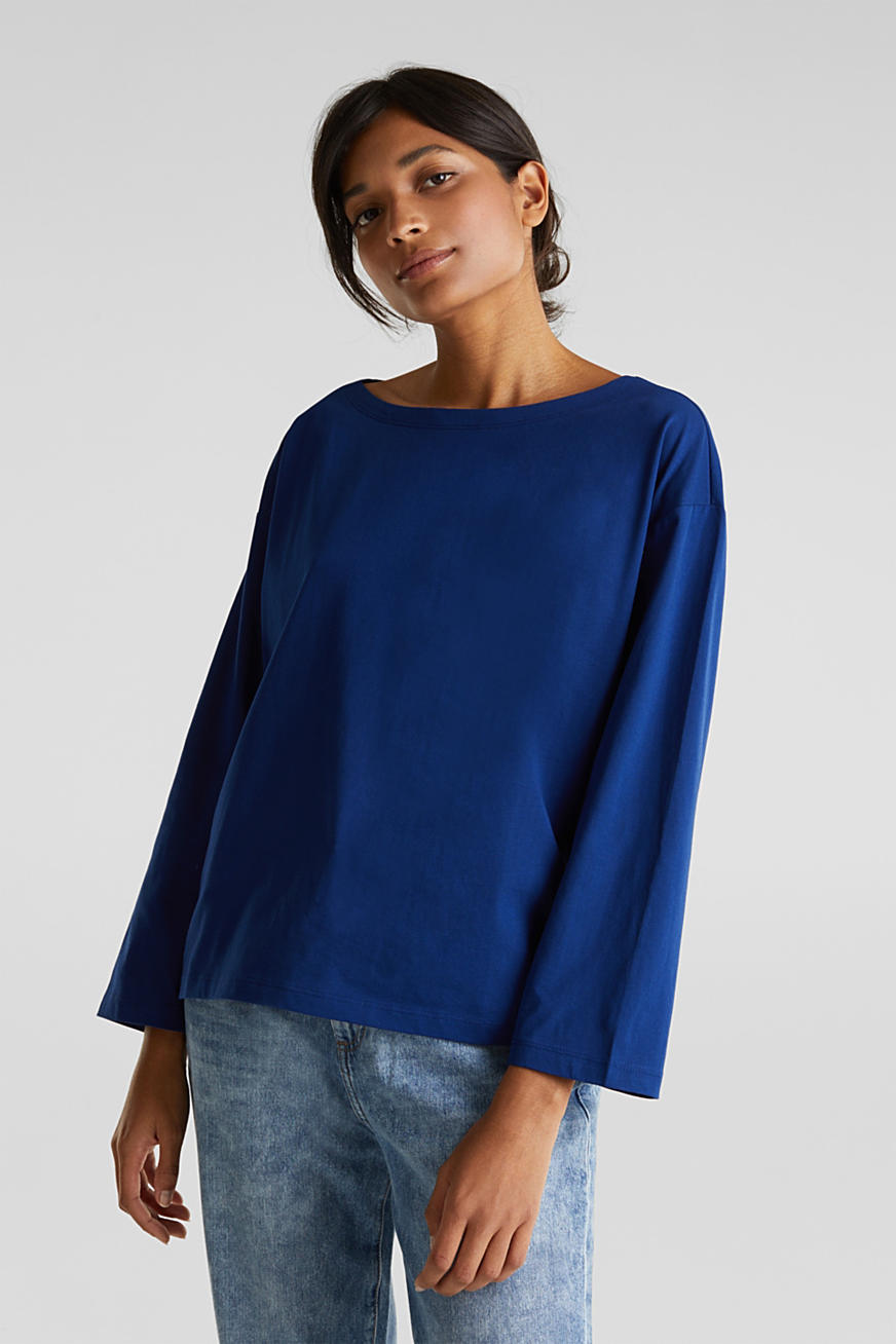 Long sleeve top with wide sleeves, 100% cotton