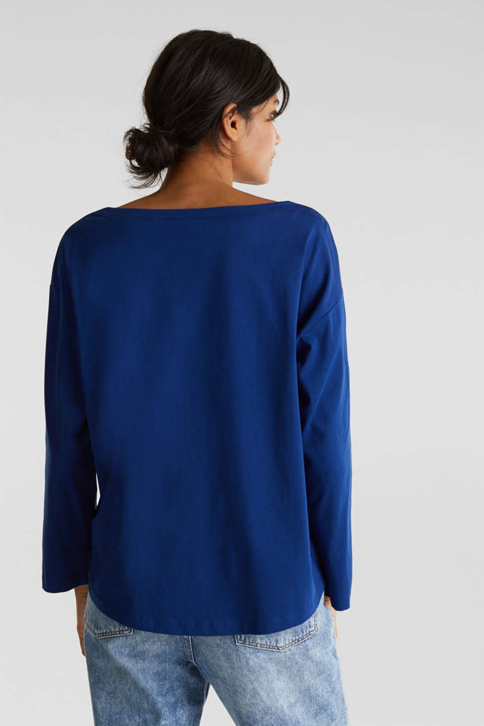 Long sleeve top with wide sleeves, 100% cotton, INK, detail image number 3
