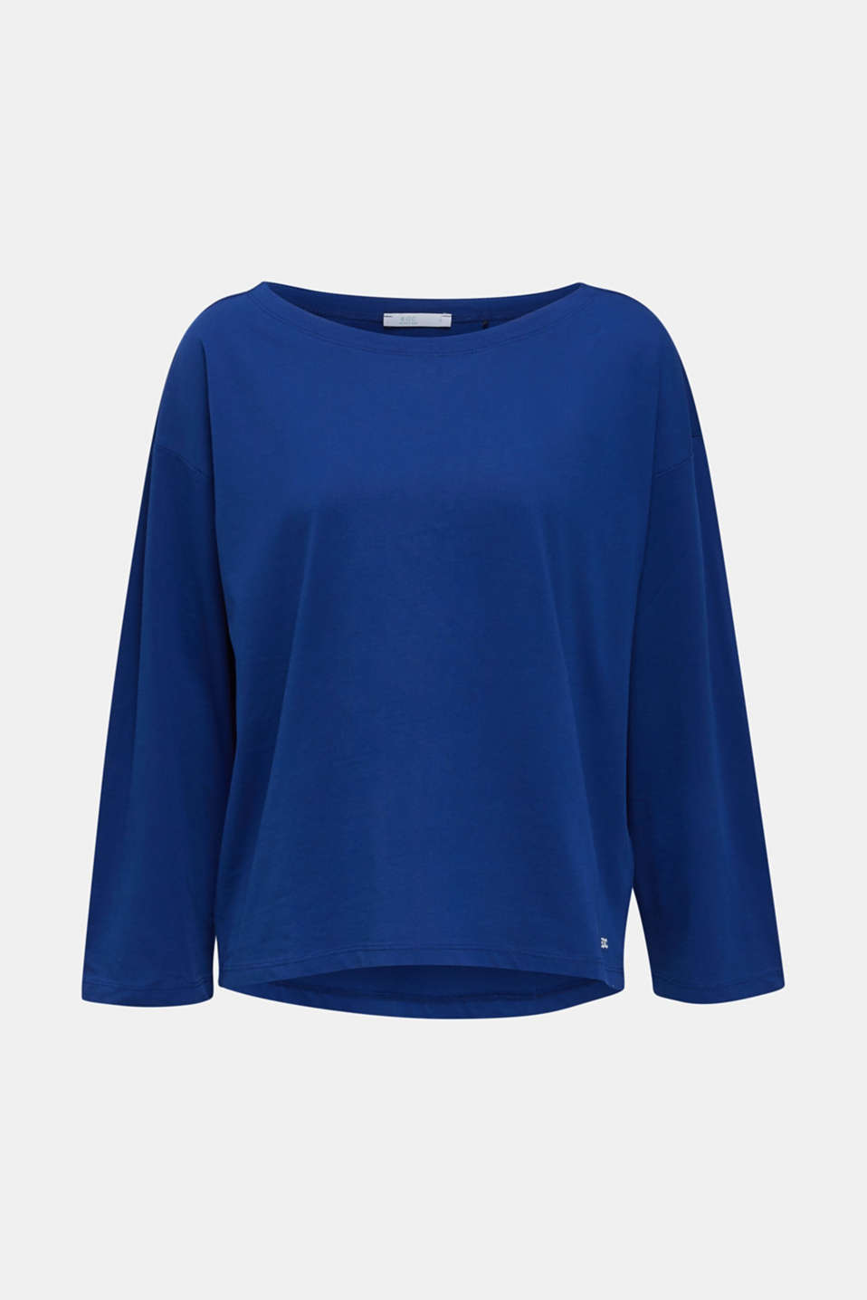 Long sleeve top with wide sleeves, 100% cotton, INK, detail image number 6