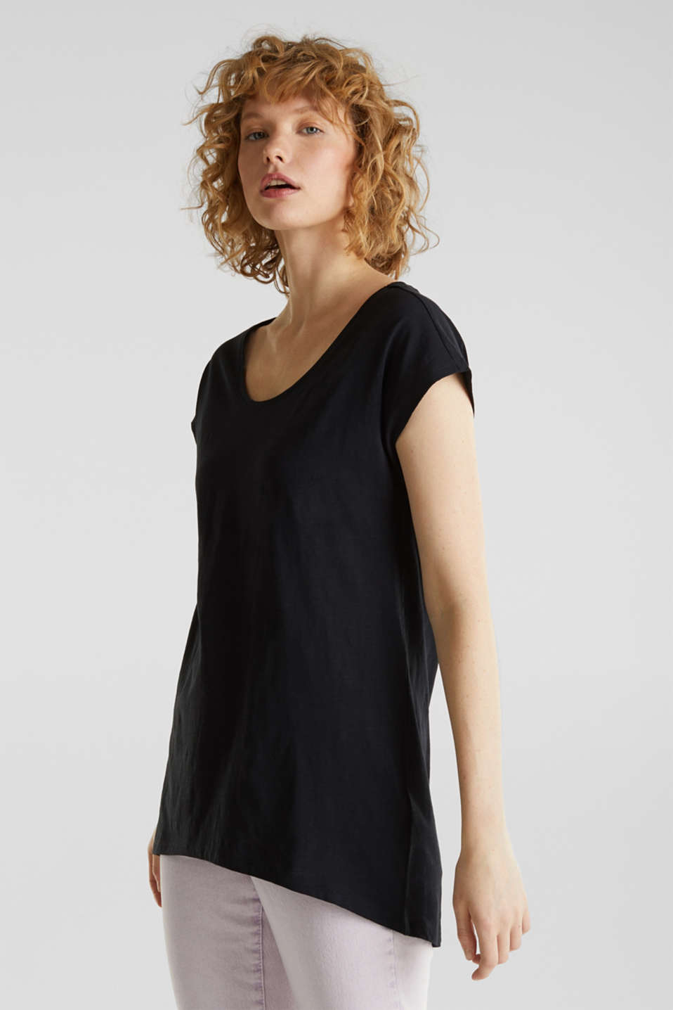 Slub top with high-low hem, 100% cotton, BLACK, detail image number 0