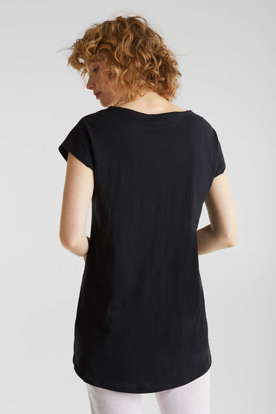 Slub top with high-low hem, 100% cotton, BLACK, detail image number 3