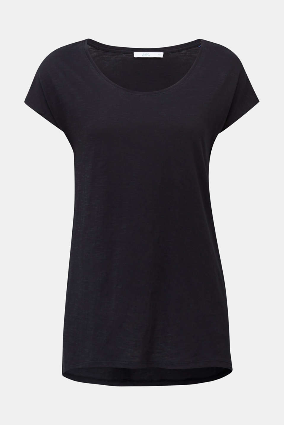 Slub top with high-low hem, 100% cotton, BLACK, detail image number 5