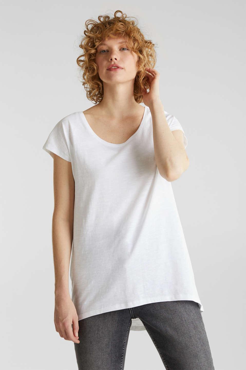 Slub top with high-low hem, 100% cotton, WHITE, detail image number 0
