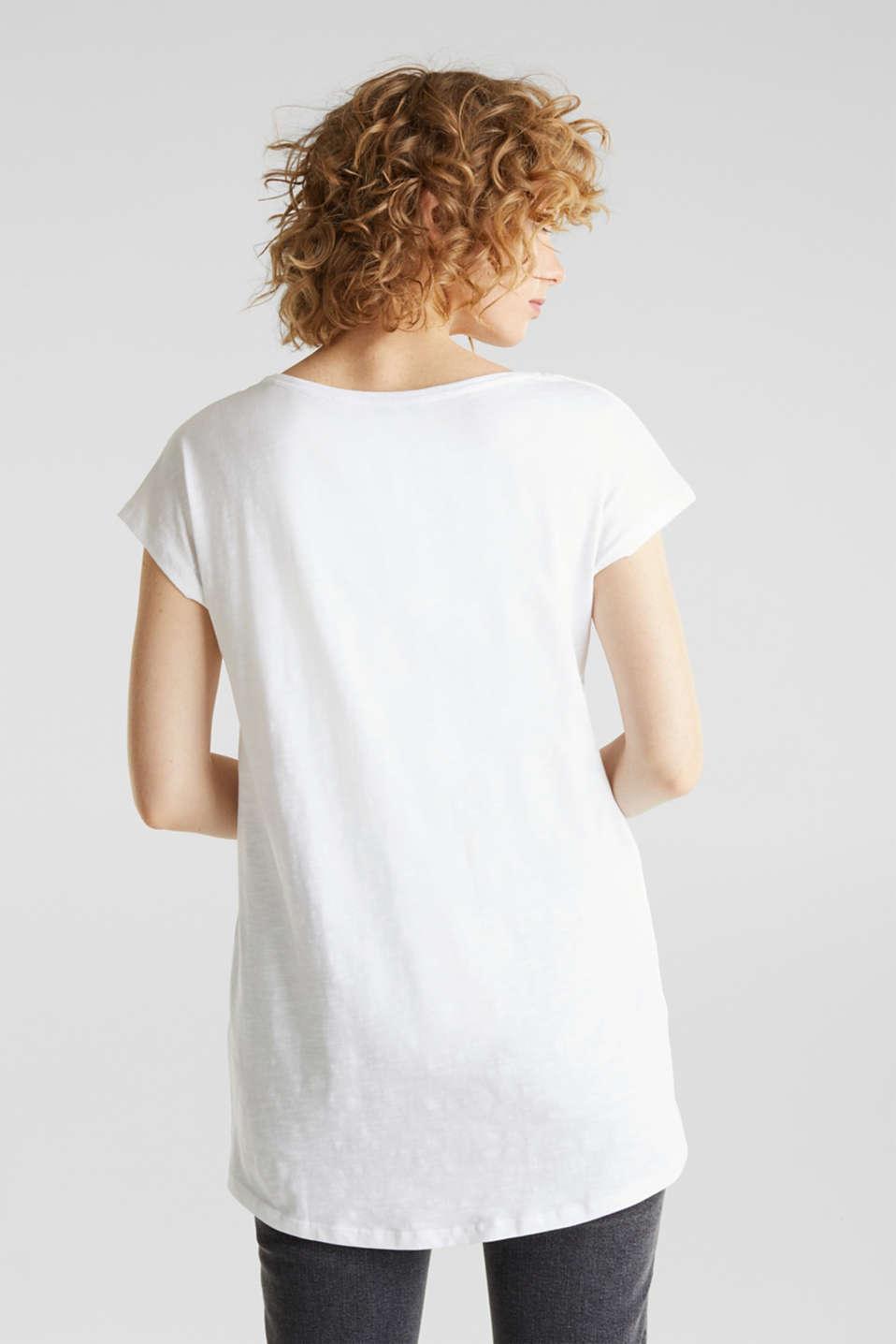 Slub top with high-low hem, 100% cotton, WHITE, detail image number 3
