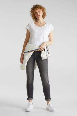 Slub top with high-low hem, 100% cotton, WHITE, detail