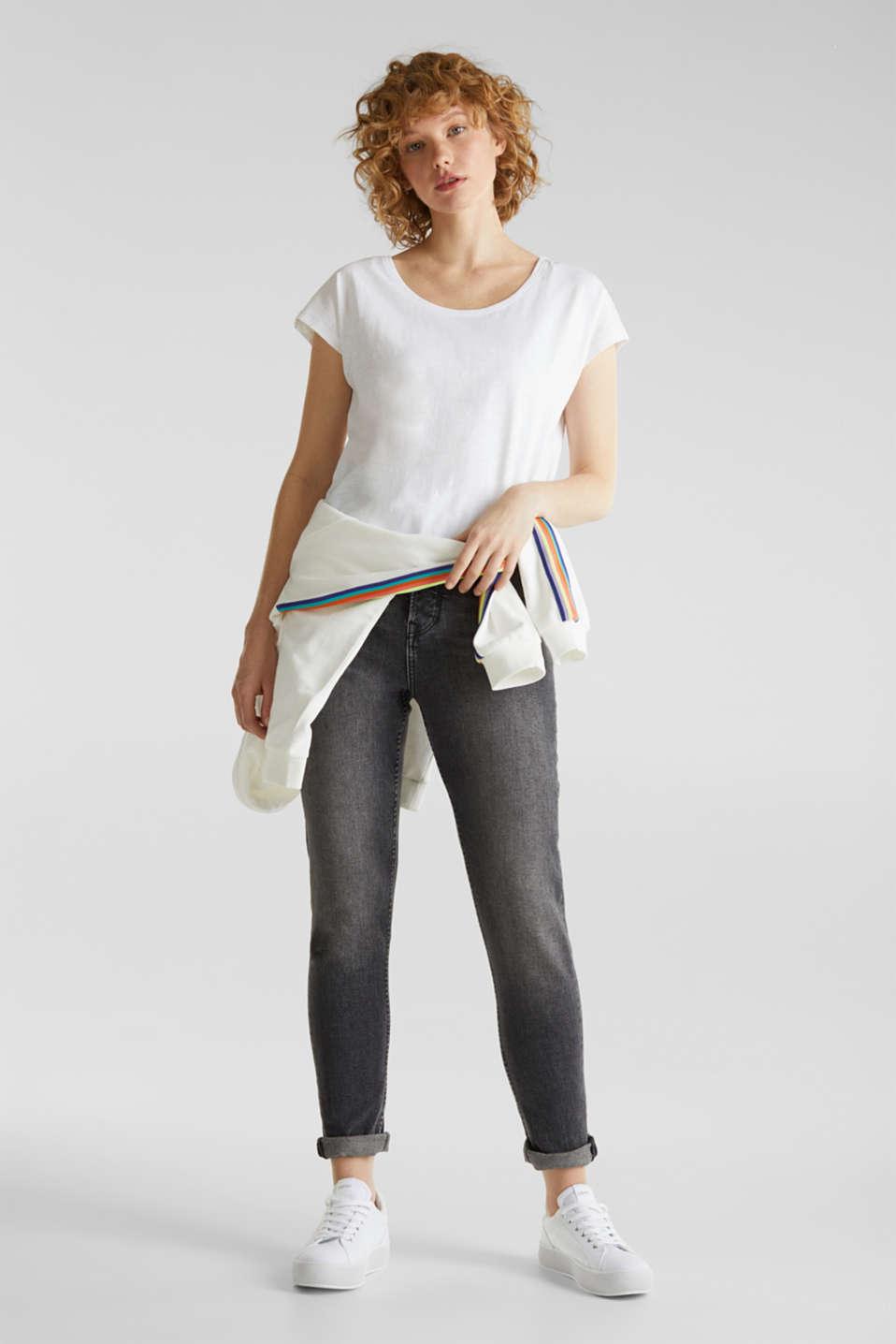 Slub top with high-low hem, 100% cotton, WHITE, detail image number 1