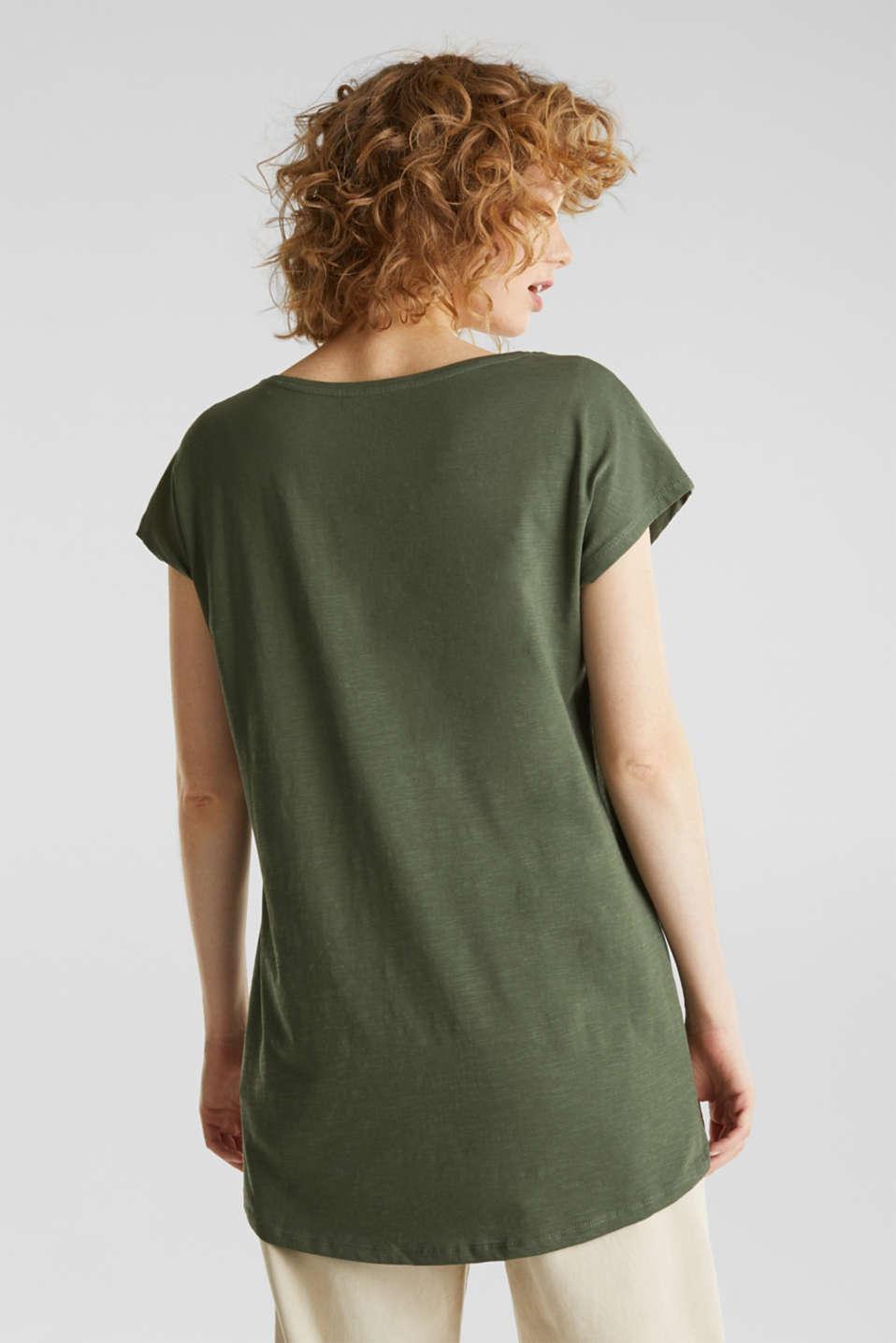 Slub top with high-low hem, 100% cotton, LIGHT KHAKI, detail image number 3