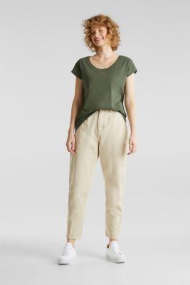 Slub top with high-low hem, 100% cotton, LIGHT KHAKI, detail