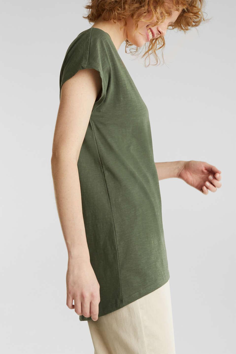 Slub top with high-low hem, 100% cotton, LIGHT KHAKI, detail image number 2