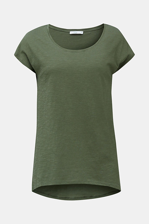 Slub top with high-low hem, 100% cotton