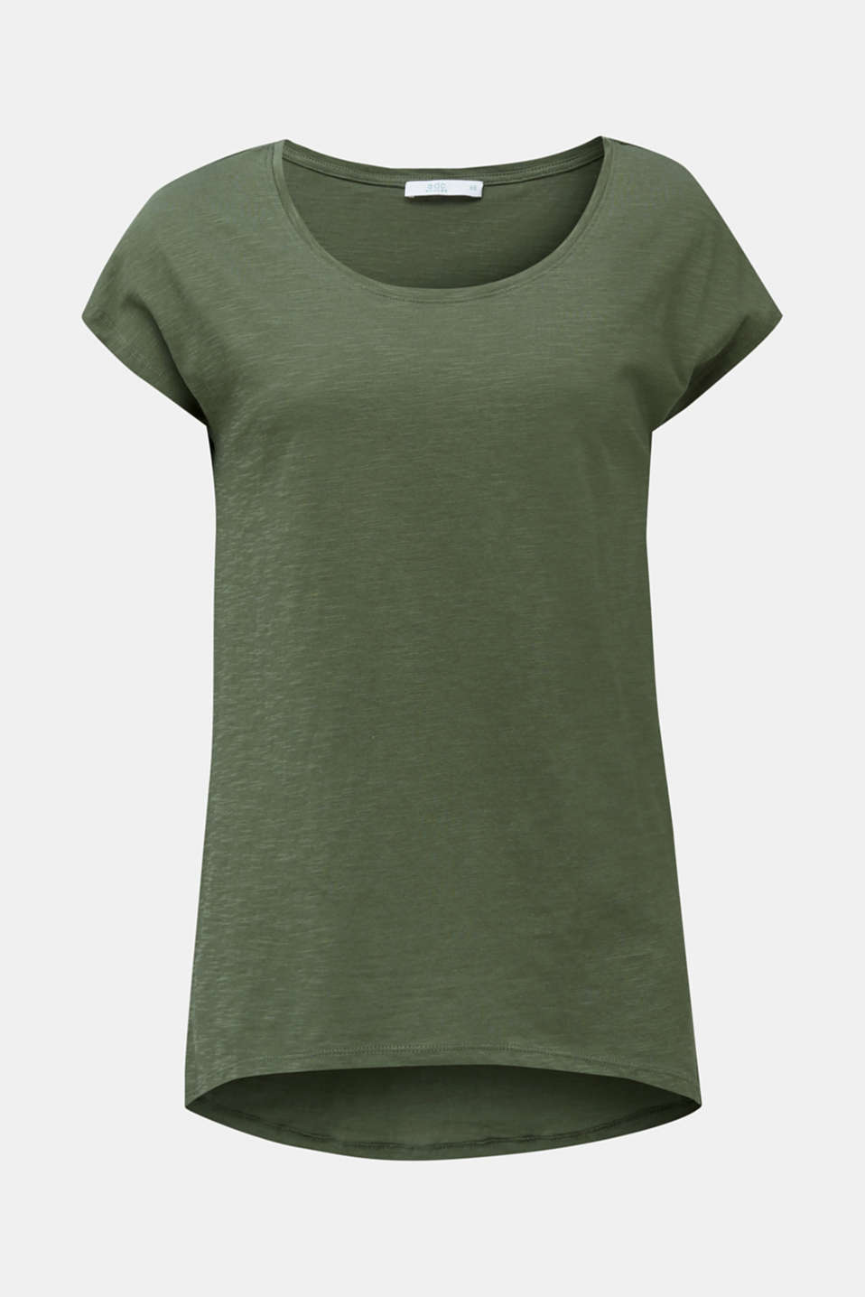Slub top with high-low hem, 100% cotton, LIGHT KHAKI, detail image number 5