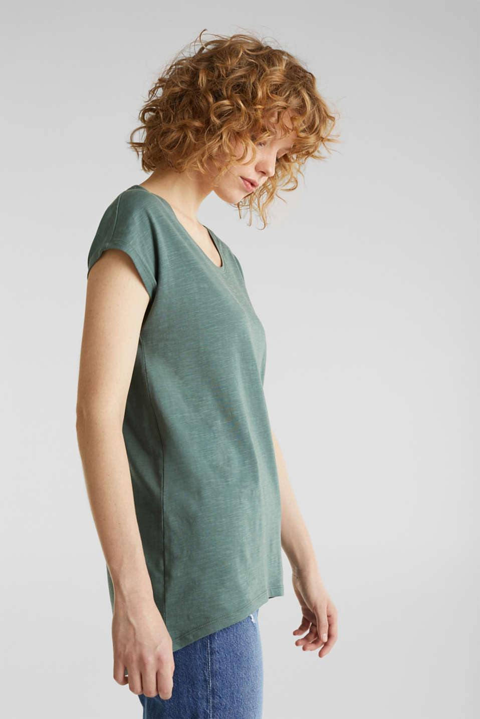 Slub top with high-low hem, 100% cotton, KHAKI GREEN, detail image number 0