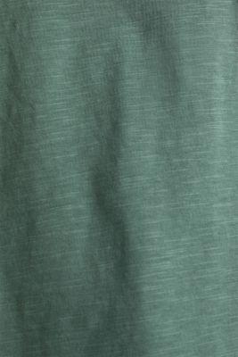 Slub top with high-low hem, 100% cotton, KHAKI GREEN, detail