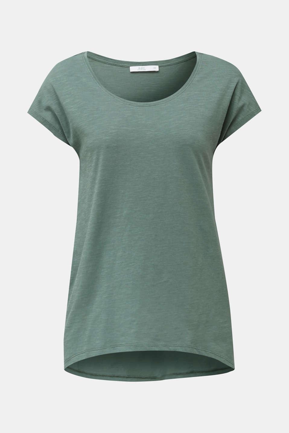 Slub top with high-low hem, 100% cotton, KHAKI GREEN, detail image number 5