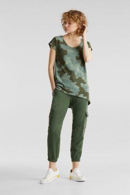 Slub top with high-low hem, 100% cotton, KHAKI GREEN 2, detail