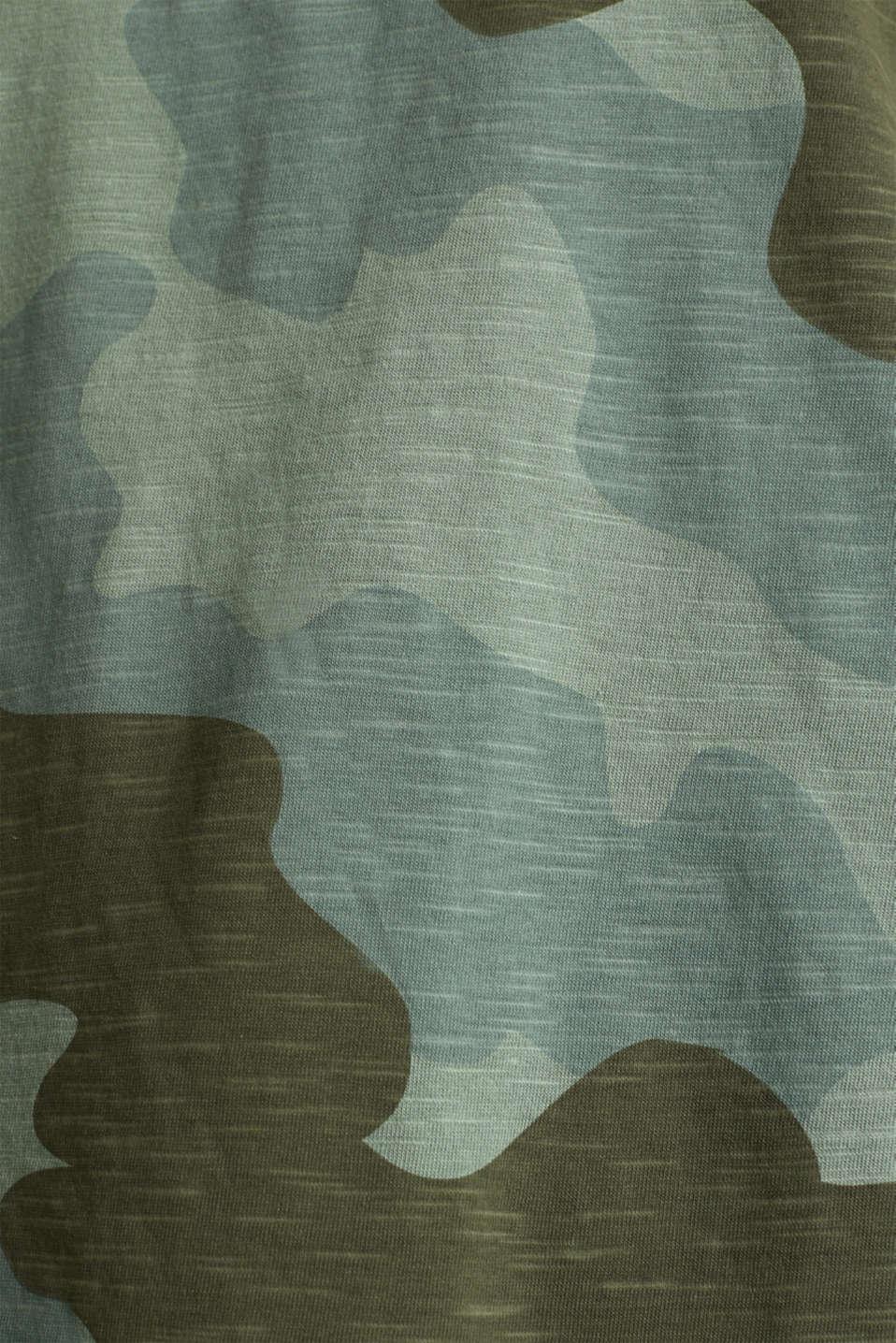 Slub top with high-low hem, 100% cotton, KHAKI GREEN 2, detail image number 4