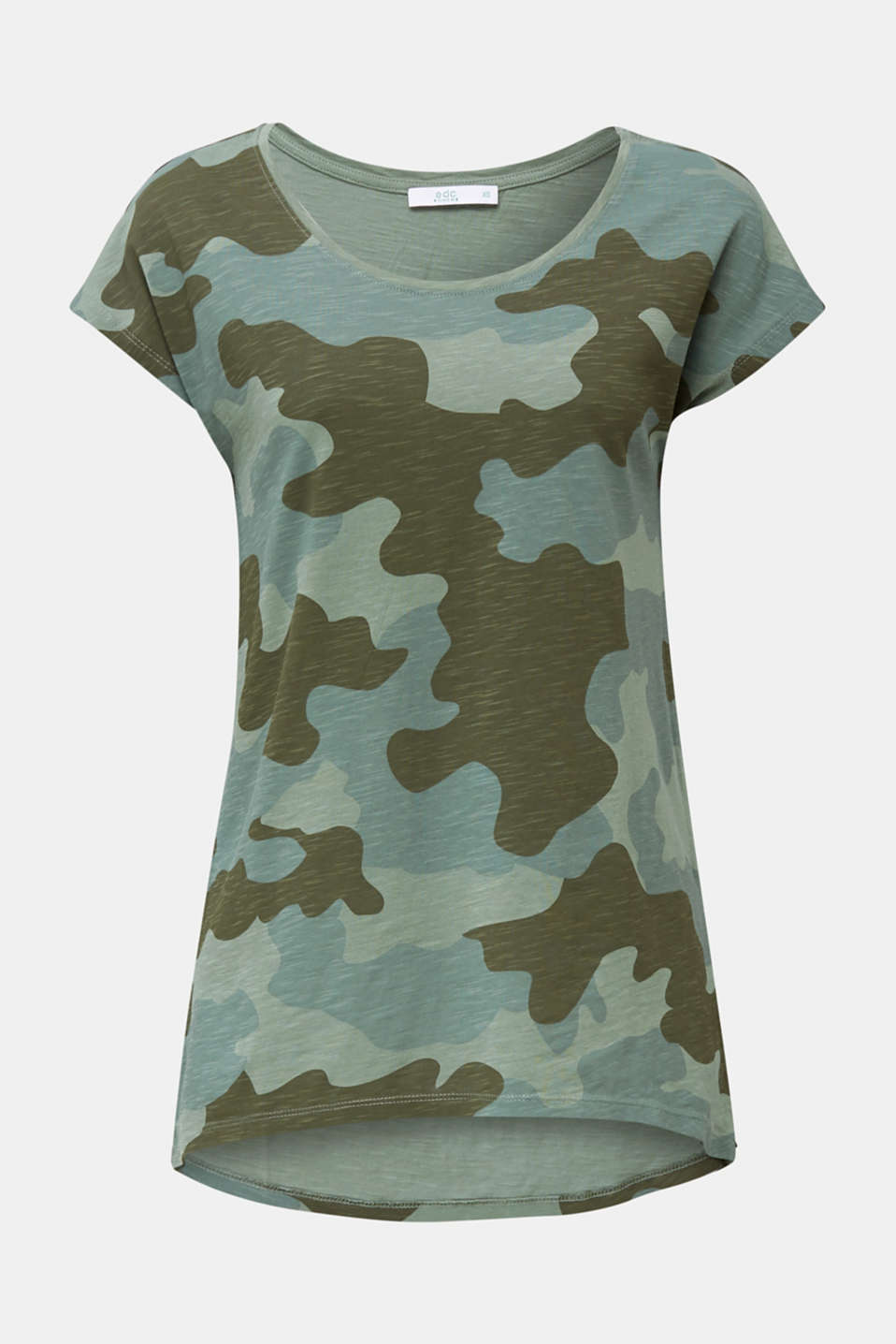 Slub top with high-low hem, 100% cotton, KHAKI GREEN 2, detail image number 6