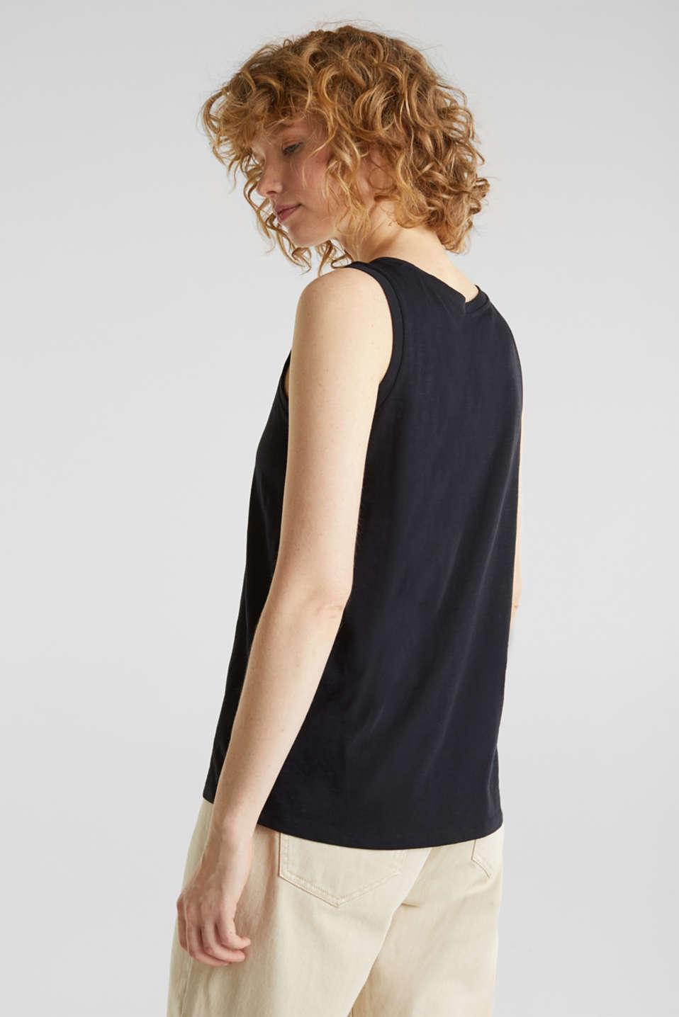100% cotton slub top, BLACK, detail image number 3