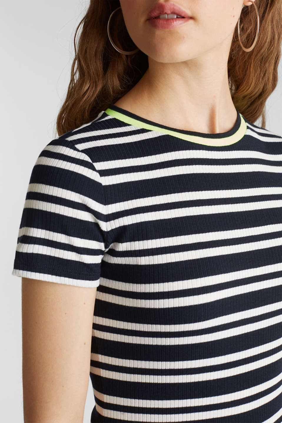 Stretch top with a neon trim, NAVY 2, detail image number 2