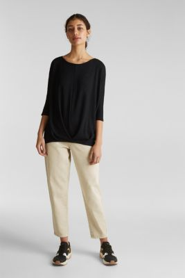 Batwing top with a draped effect, BLACK, detail