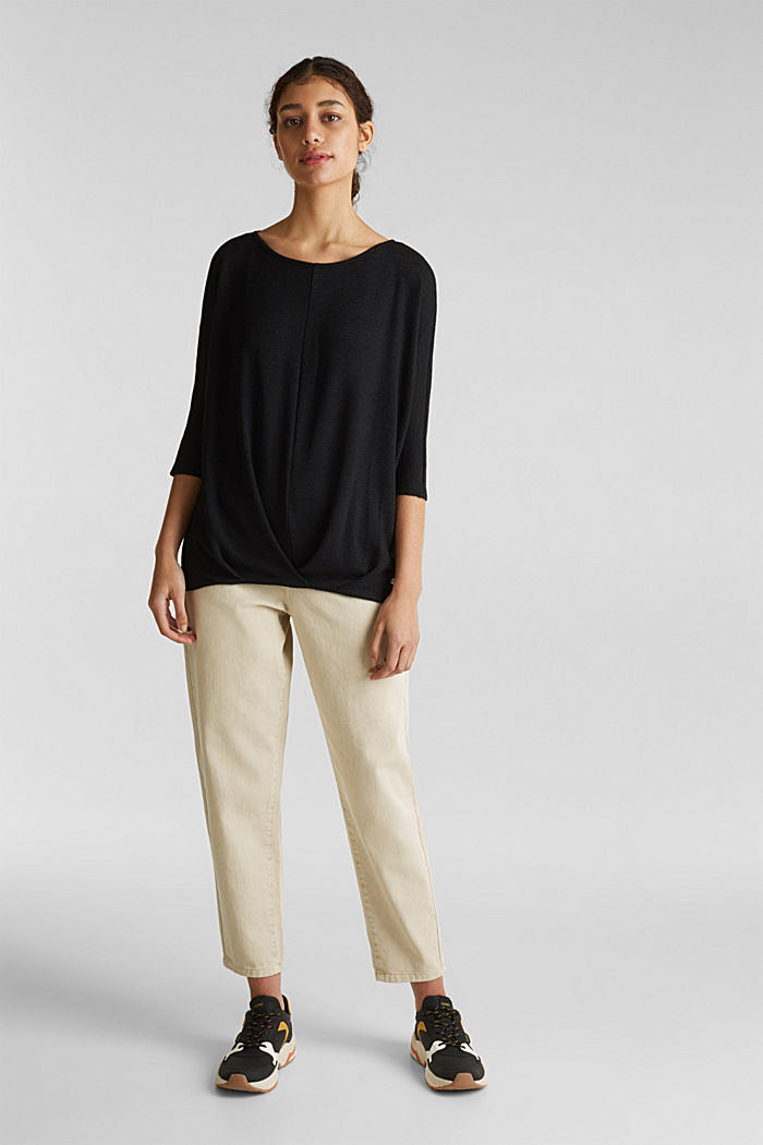 Flagermus-shirt med draperet effekt, BLACK, detail image number 1