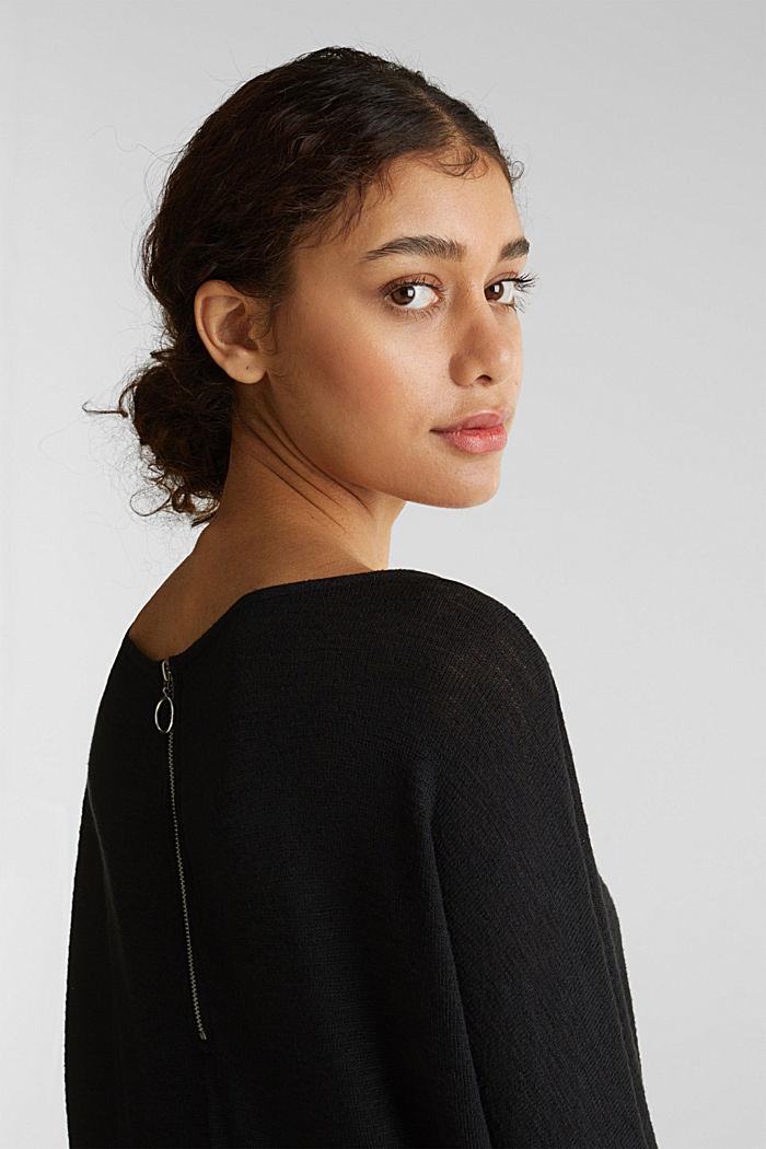 Flagermus-shirt med draperet effekt, BLACK, detail image number 5
