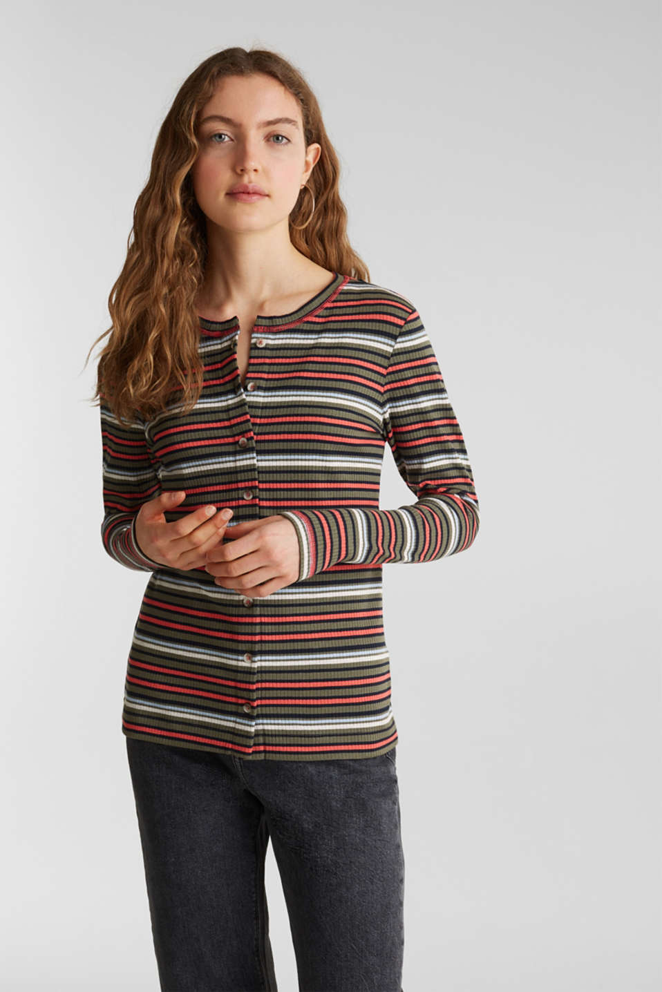 edc - Ribbed long sleeve top with a button placket