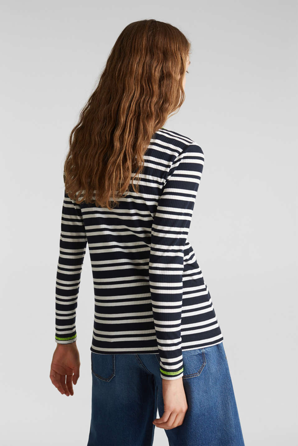 Ribbed long sleeve top with a button placket, NAVY 2, detail image number 3