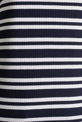 Ribbed long sleeve top with a button placket, NAVY 2, detail