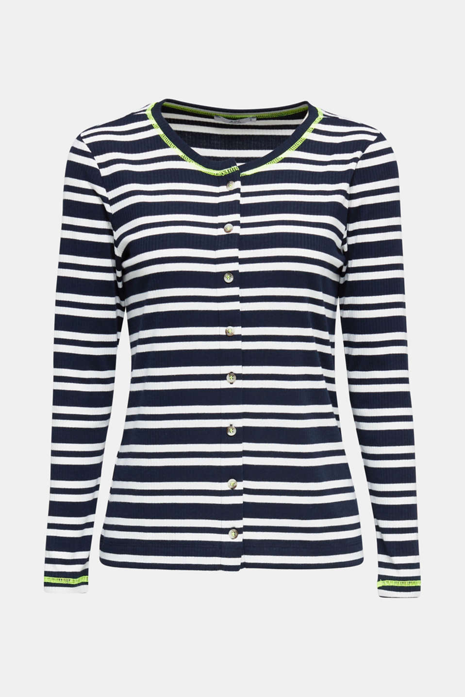 Ribbed long sleeve top with a button placket, NAVY 2, detail image number 6