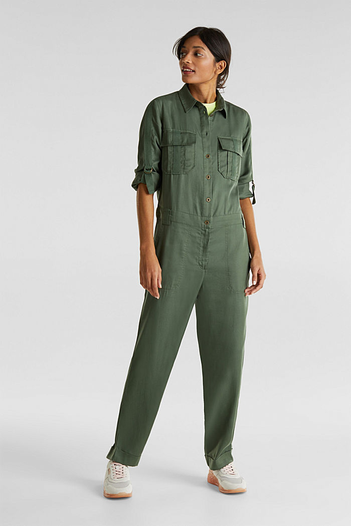 Utility-style boiler suit, KHAKI GREEN, detail image number 0