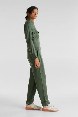 Utility-style boiler suit, KHAKI GREEN, detail