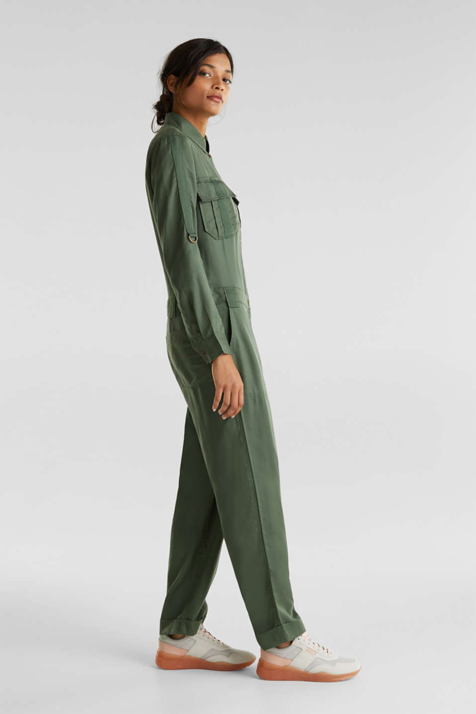 Utility-style boiler suit, KHAKI GREEN, detail image number 1