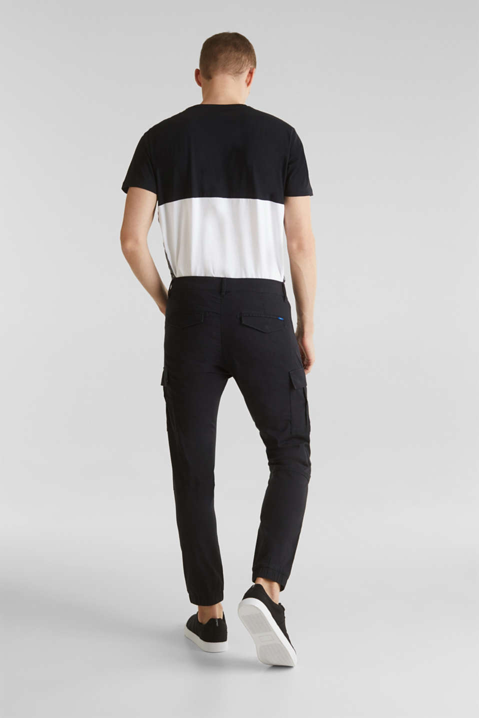 Stretch cotton cargo trousers, BLACK, detail image number 3