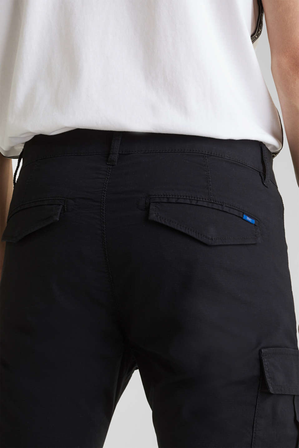 Stretch cotton cargo trousers, BLACK, detail image number 5