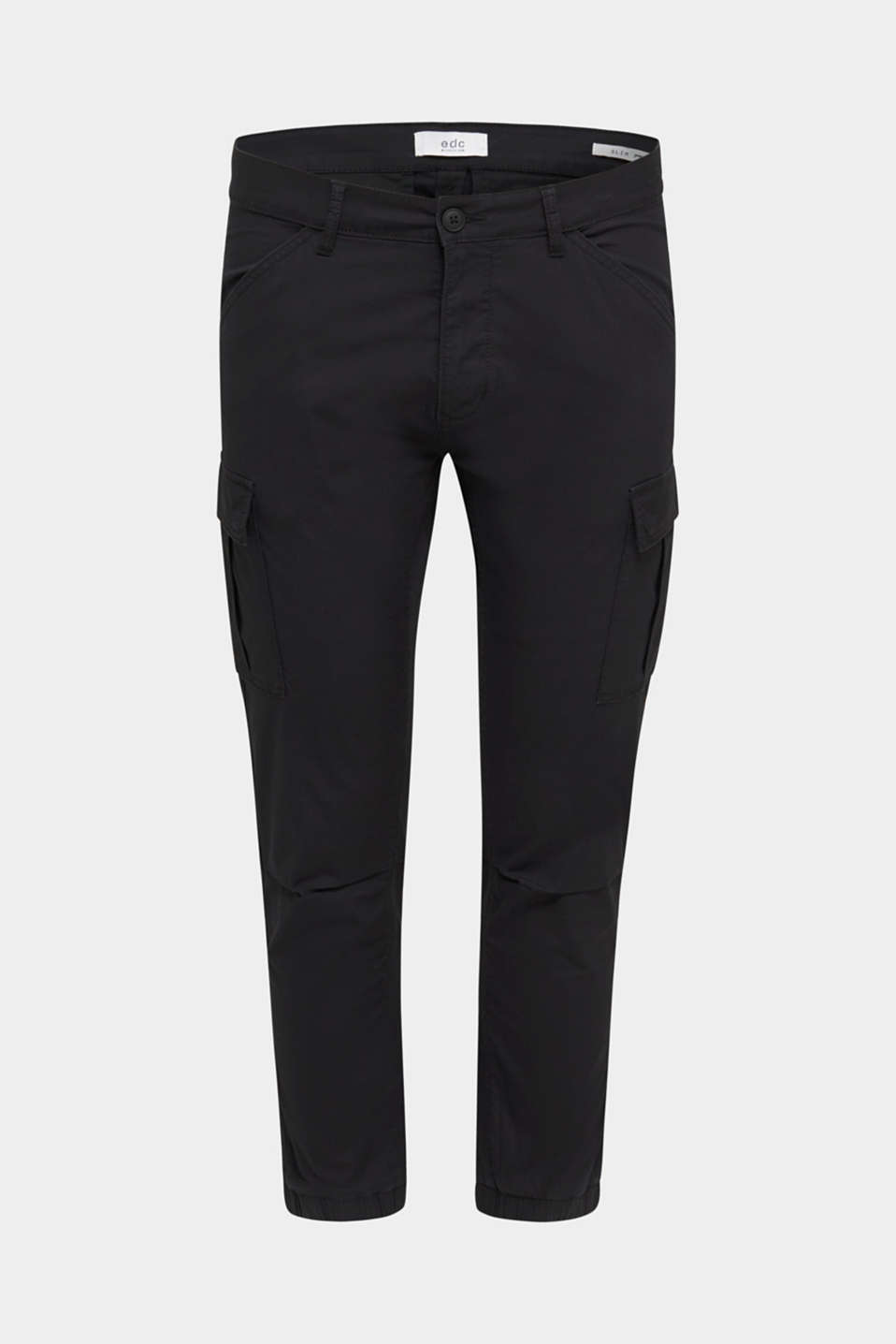 Stretch cotton cargo trousers, BLACK, detail image number 6